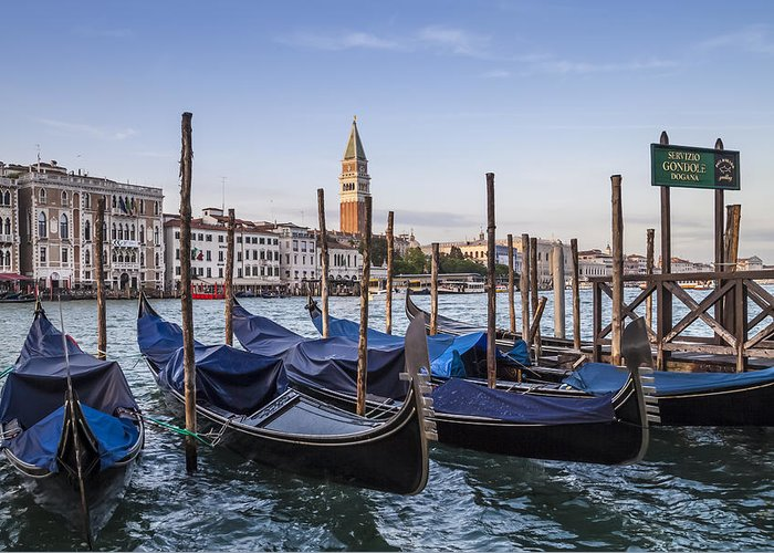 Ancient Greeting Card featuring the photograph Venice Grand Canal And Goldolas by Melanie Viola