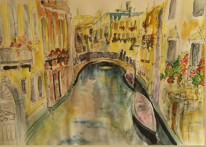 Venice Greeting Card featuring the painting Venice I. by Paula Steffensen