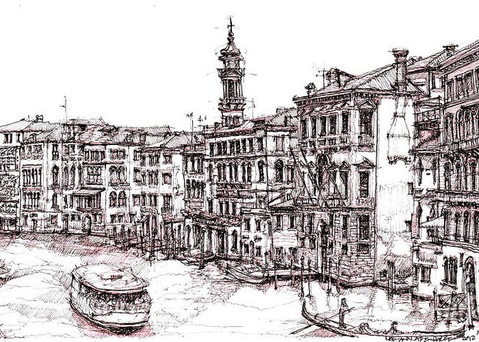 Venice Greeting Card featuring the drawing Venice In Pen And Ink by Adendorff Design