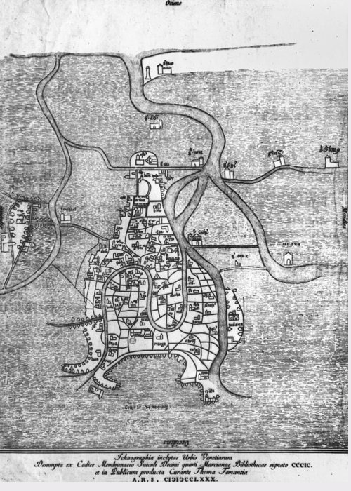 12th Century Greeting Card featuring the photograph Venice: Map, 12th Century by Granger