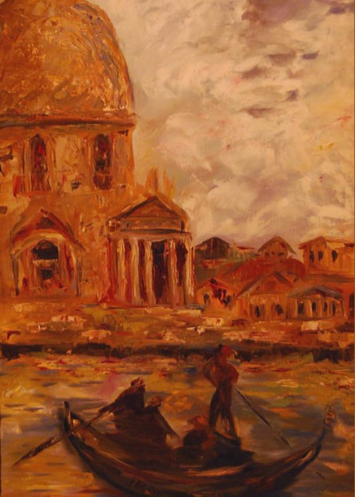Boats Greeting Card featuring the painting Venice Morning by Nancy Bradley