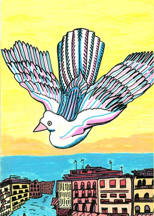 Venice Greeting Card featuring the drawing Venice Seagull by Don Koester