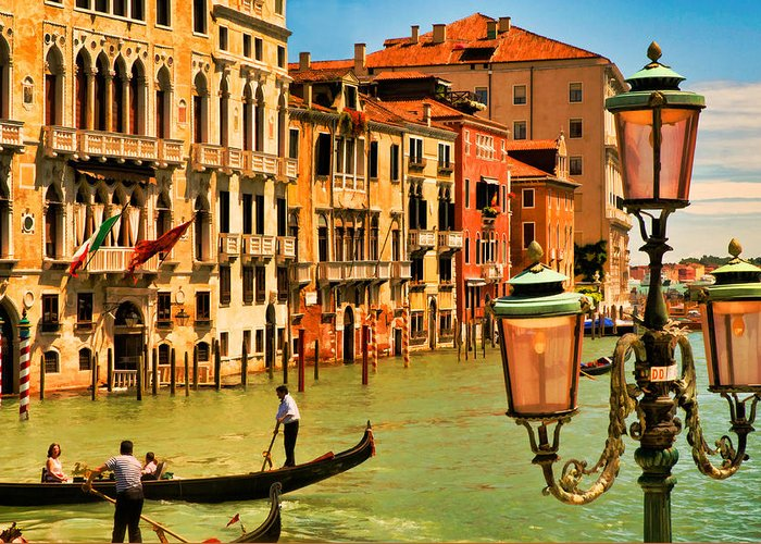 Venice Greeting Card featuring the digital art Venice Street Lamp by Mick Burkey
