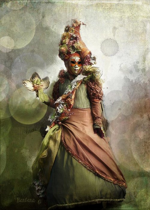 Woman Greeting Card featuring the photograph Venitian Carnival-the Fall Muse by Barbara Orenya