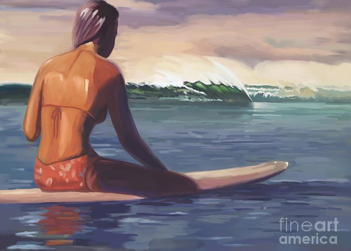 Ventura Greeting Card featuring the painting Ventura Surfer Girl by Tim Gilliland