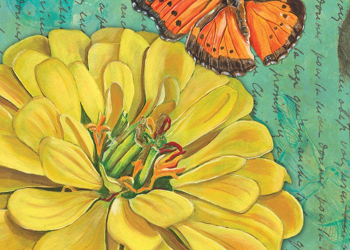 Floral Greeting Card featuring the painting Verdigris Floral 2 by Debbie DeWitt