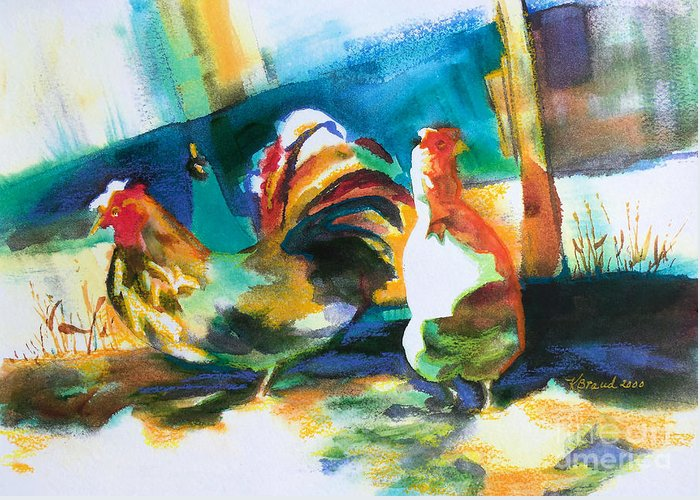 Painting Greeting Card featuring the painting Veridian Chicken by Kathy Braud