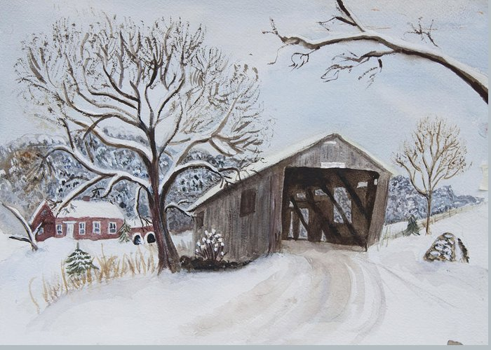 Vermont Greeting Card featuring the painting Vermont Covered Bridge In Winter by Donna Walsh