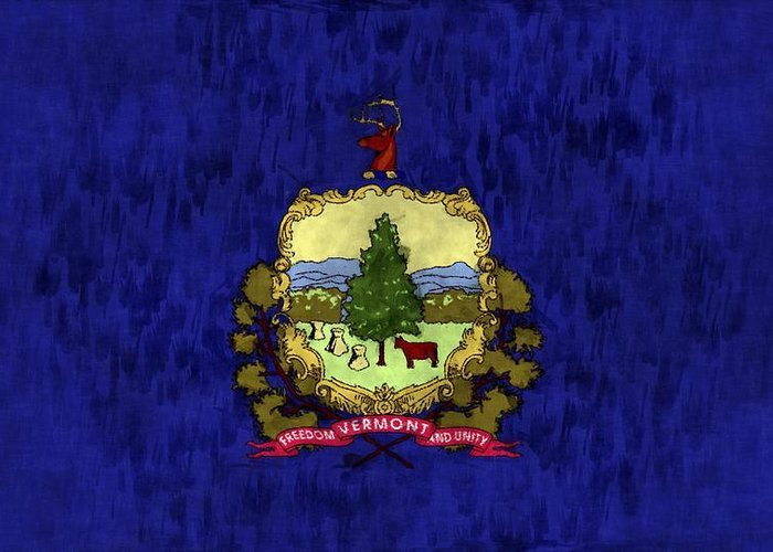 America Greeting Card featuring the digital art Vermont Flag by World Art Prints And Designs