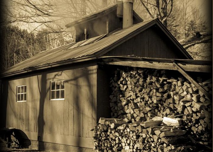 Maple Greeting Card featuring the photograph Vermont Maple Sugar Shack Circa 1954 by Edward Fielding