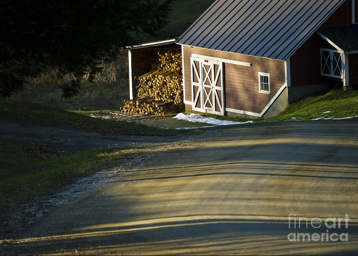 Vermont Greeting Card featuring the photograph Vermont Maple Sugar Shack Sunset by Edward Fielding