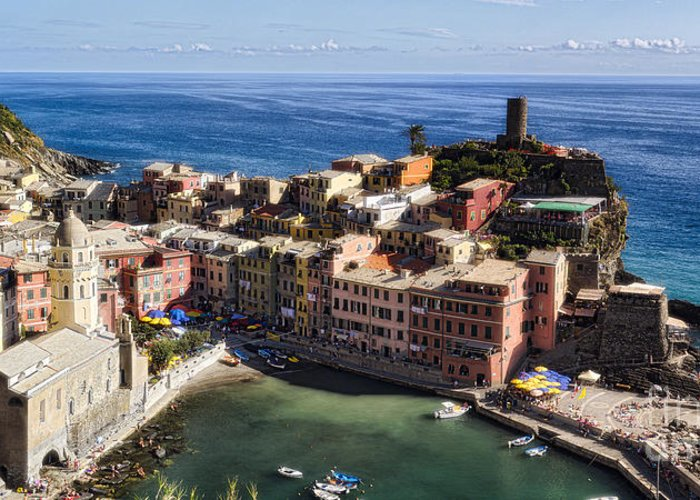 Cinque Terre Greeting Card featuring the photograph Vernazza From Above by George Oze