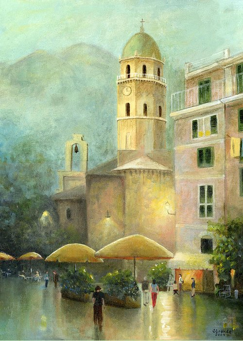 Cecilia Brendel's Original Canvas Print Painting Vernazza Greeting Card featuring the painting Vernazza Italy by Cecilia Brendel