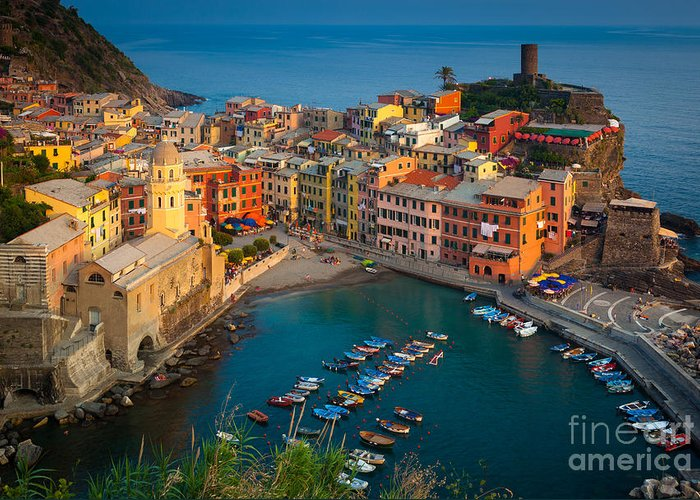 Cinque Terre Greeting Card featuring the photograph Vernazza Pomeriggio by Inge Johnsson
