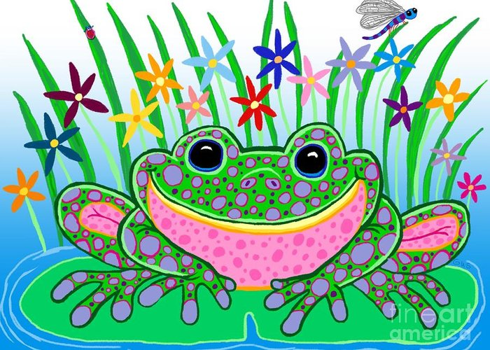 Frog Art Greeting Card featuring the drawing Very Happy Spotted Frog by Nick Gustafson