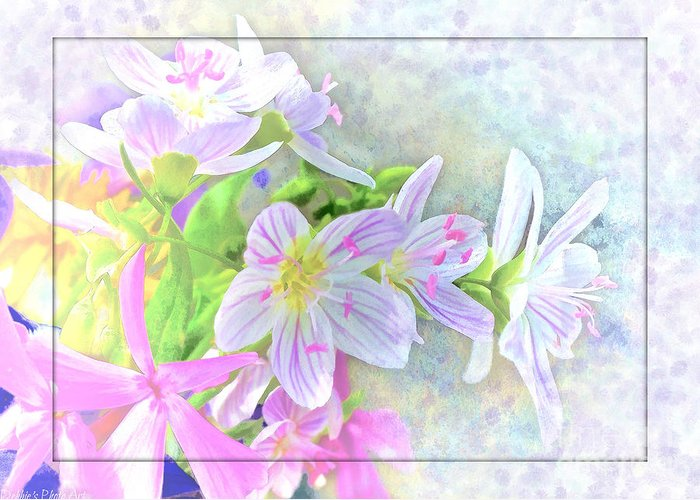 Tiny Greeting Card featuring the photograph Very Tiny Wildflower Boquet Digital Paint by Debbie Portwood
