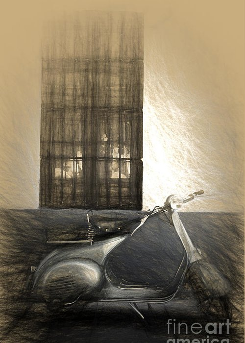 Vespa Greeting Card featuring the digital art Vespa Piaggio 150 Classic by Perry Van Munster