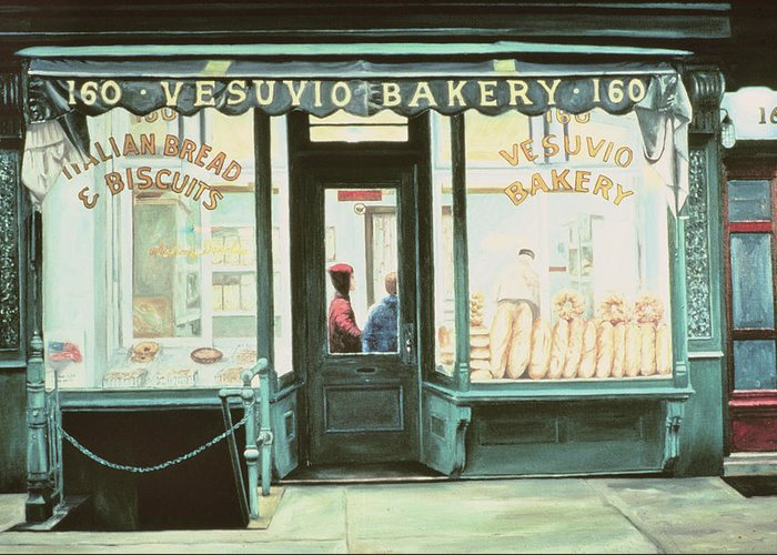 Italian Greeting Card featuring the painting Vesuvio Bakery by Anthony Butera