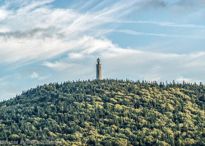 Landmarks Greeting Card featuring the photograph Veterans War Memorial Tower by Nate Wilson