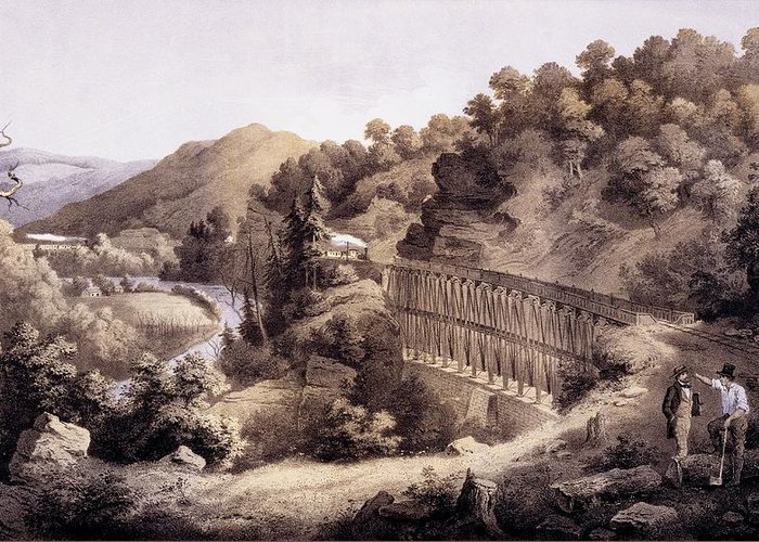 Cheat River Greeting Card featuring the drawing Viaduct On Cheat River, From Album by Edward Beyer
