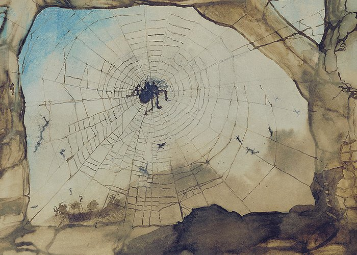Spider Greeting Card featuring the painting Vianden Through A Spider's Web by Victor Hugo