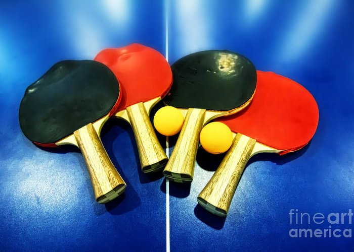 Table Tennis Racket Greeting Cards
