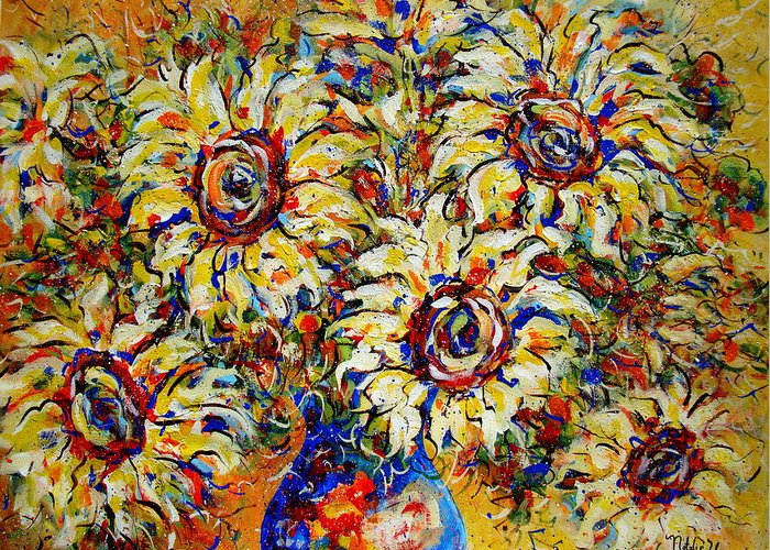 Flowers Greeting Card featuring the painting Vibrant Sunflower Essence by Natalie Holland