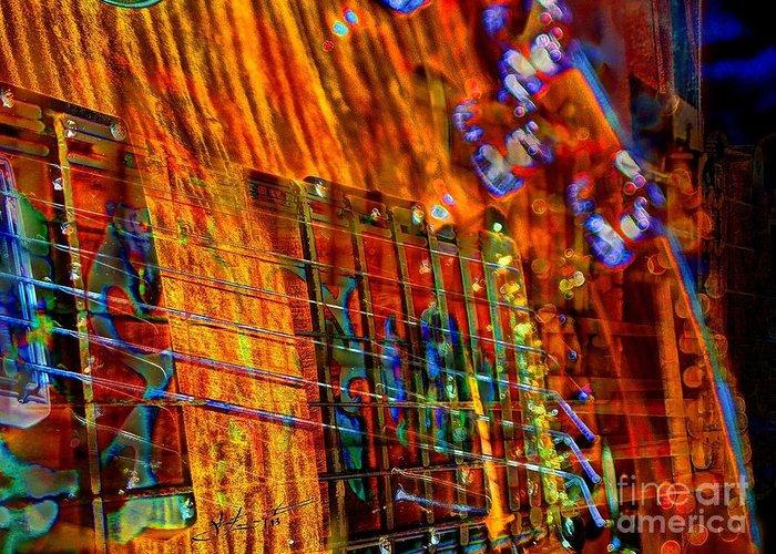 Acoustic Greeting Card featuring the photograph Vibrations Digital Guitar Art Bt Steven Langston by Steven Lebron Langston