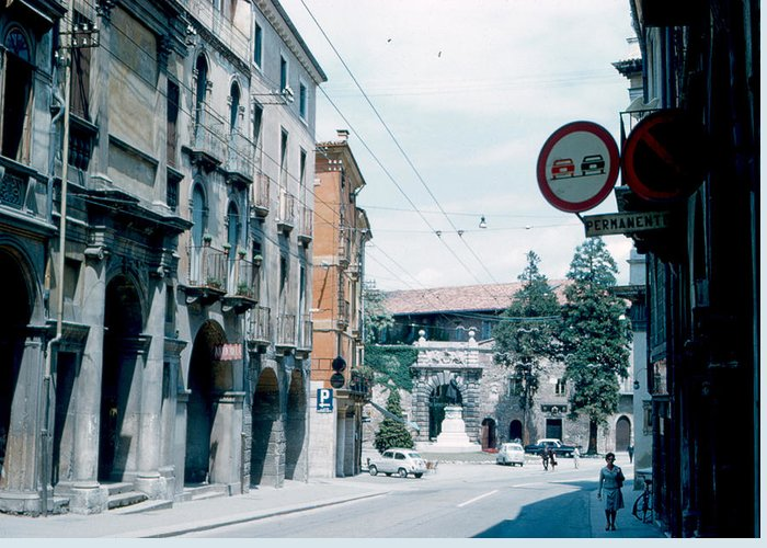 Vicenza Greeting Card featuring the photograph Vicenza Italy 1962 by Cumberland Warden