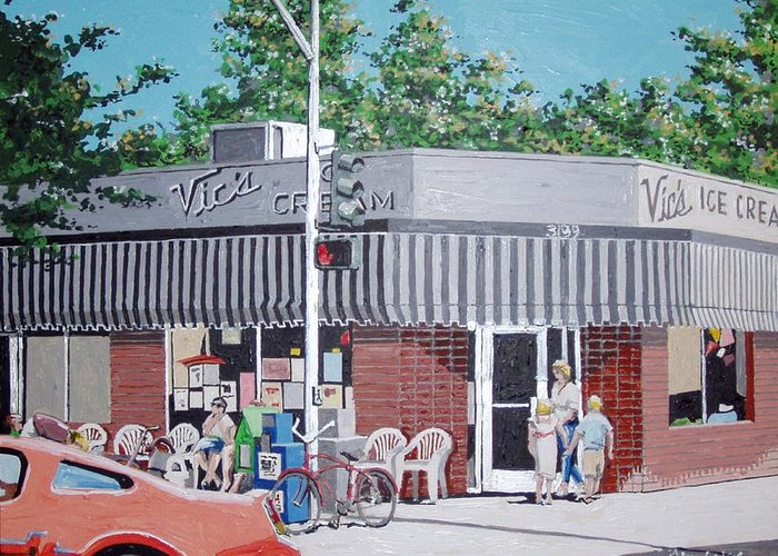 Sacramento Greeting Card featuring the painting Vic's Ice Cream No. 4 by Paul Guyer