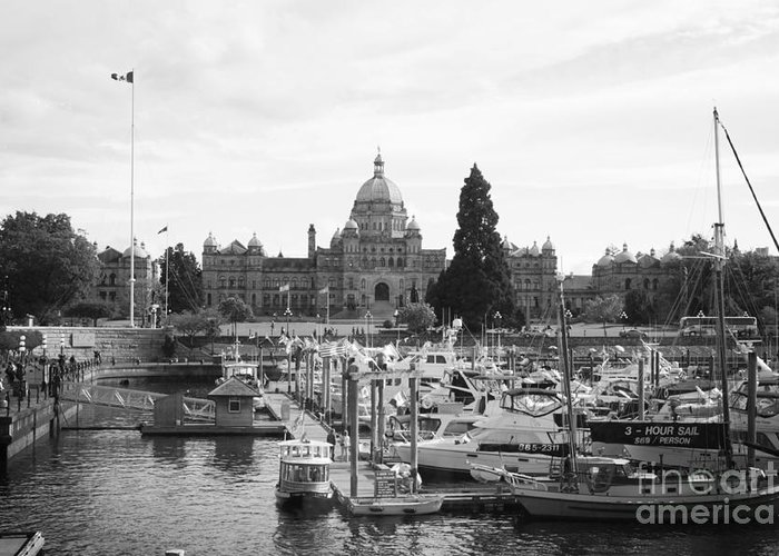 Canada Greeting Card featuring the photograph Victoria Harbour With Parliament Buildings - Black And White by Carol Groenen
