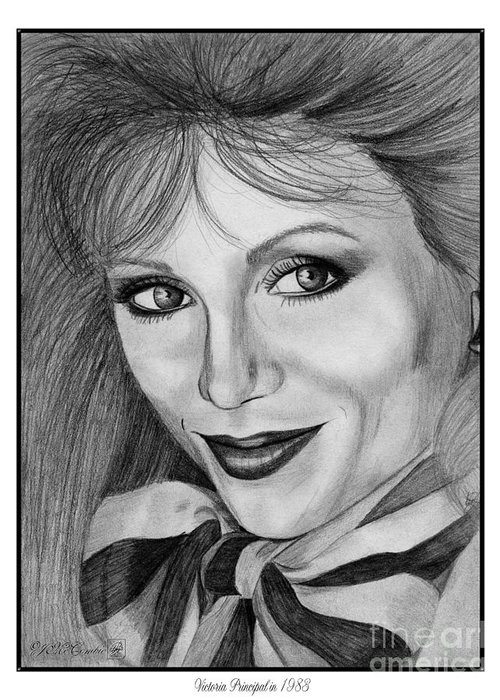 Victoria Principal Greeting Card featuring the drawing Victoria Principal In 1983 by J McCombie