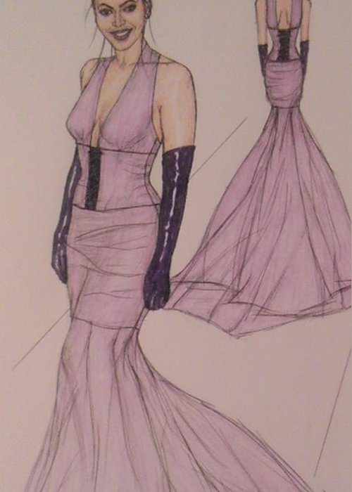 Evening Gowns Greeting Card featuring the drawing Victoria Renee's Fashions by Vicki Jones