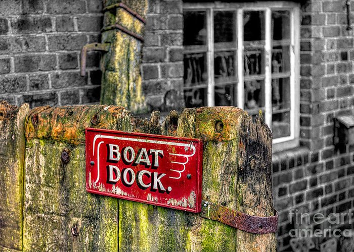 Architecture Greeting Card featuring the photograph Victorian Boat Dock Sign by Adrian Evans