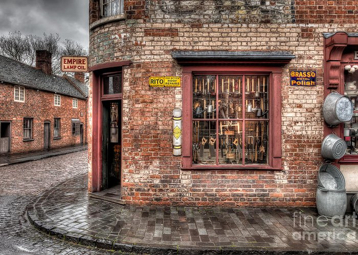 British Greeting Card featuring the photograph Victorian Corner Shop by Adrian Evans