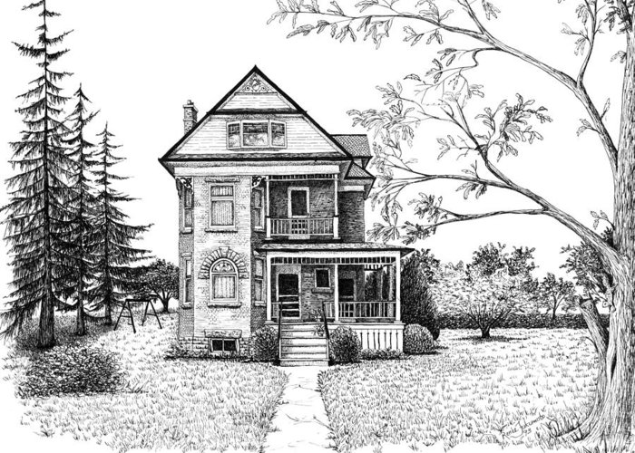 House Greeting Card featuring the drawing Victorian Farmhouse Pen And Ink by Renee Forth-Fukumoto