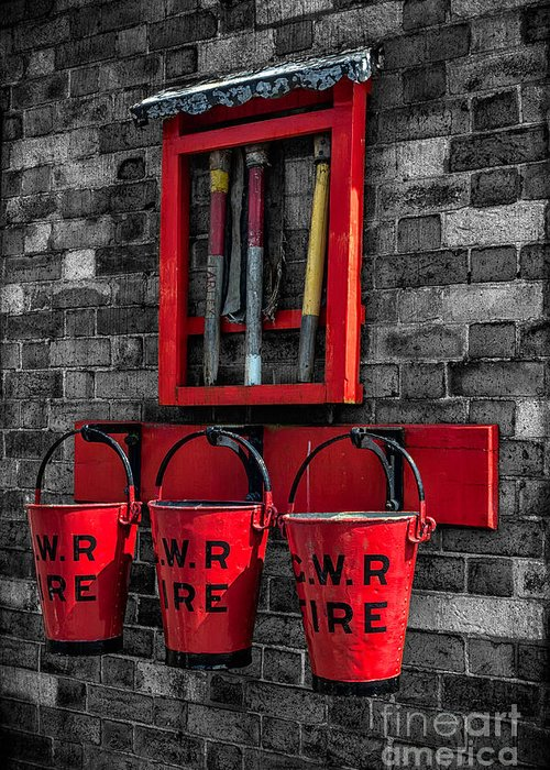 British Greeting Card featuring the photograph Victorian Fire Buckets by Adrian Evans