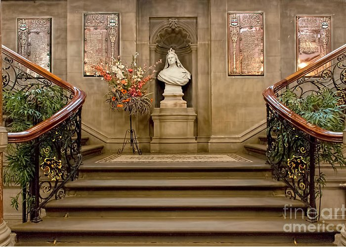 Staircase Greeting Card Featuring The Photograph Victorian Grand Staircase  By David Hollingworth