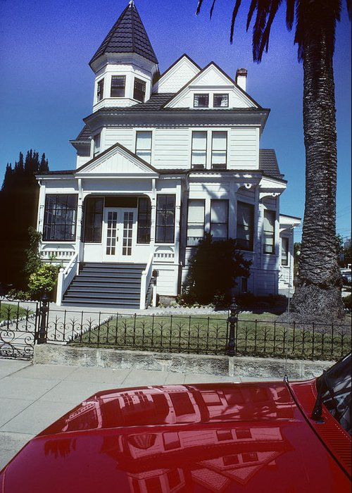 White Greeting Card featuring the photograph Victorian House In San Francisco by Carl Purcell