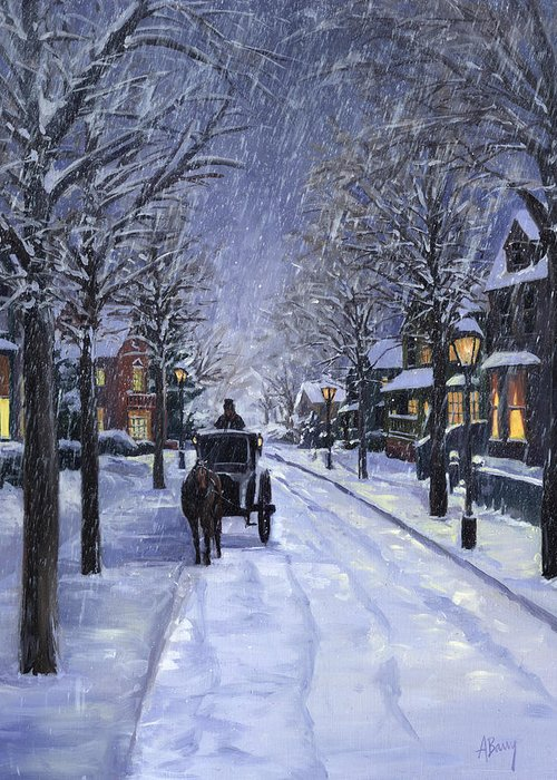 Winter Greeting Card featuring the painting Victorian Snow by Alecia Underhill