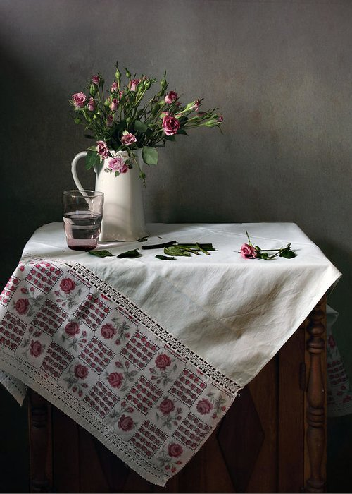 Fine Art Photograph Greeting Card featuring the photograph Victorian Style Still Life With Pink Roses by Helen Tatulyan