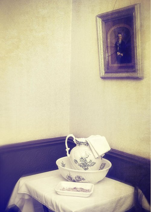 Patterned Greeting Card featuring the photograph Victorian Wash Basin And Jug by Amanda Elwell