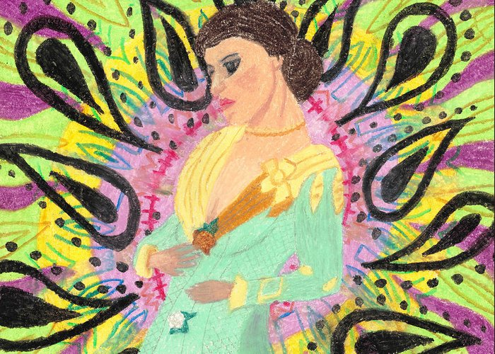 Victorian Greeting Card featuring the pastel Victorian Acid by Jessica Foster