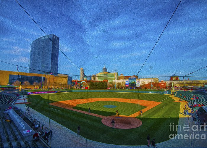 Victory Field Greeting Card featuring the photograph Victory Field Home Plate by David Haskett
