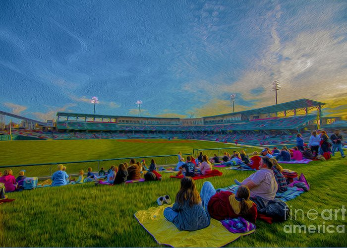 Victory Field Greeting Card featuring the photograph Victory Field Oil by David Haskett