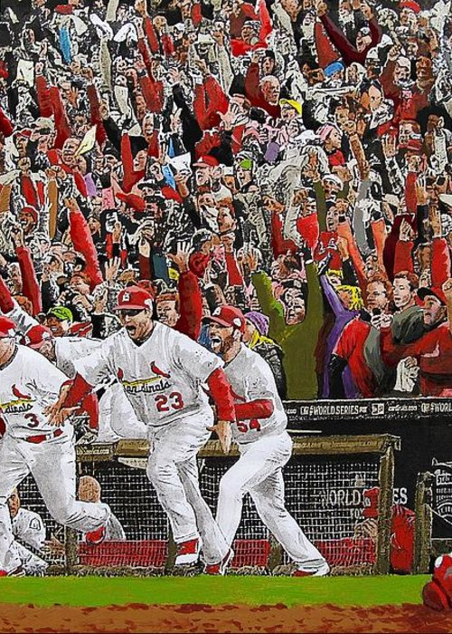 Baseball Greeting Card featuring the painting Victory - St Louis Cardinals Win The World Series Title - Friday Oct 28th 2011 by Dan Haraga