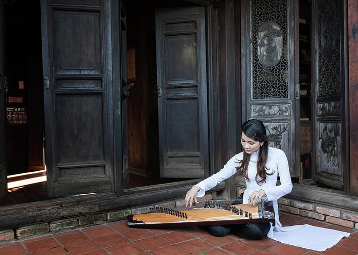 Three Quarter Length Greeting Card featuring the photograph Vietnamese Ao Dai Playing Orchestra by Jethuynh