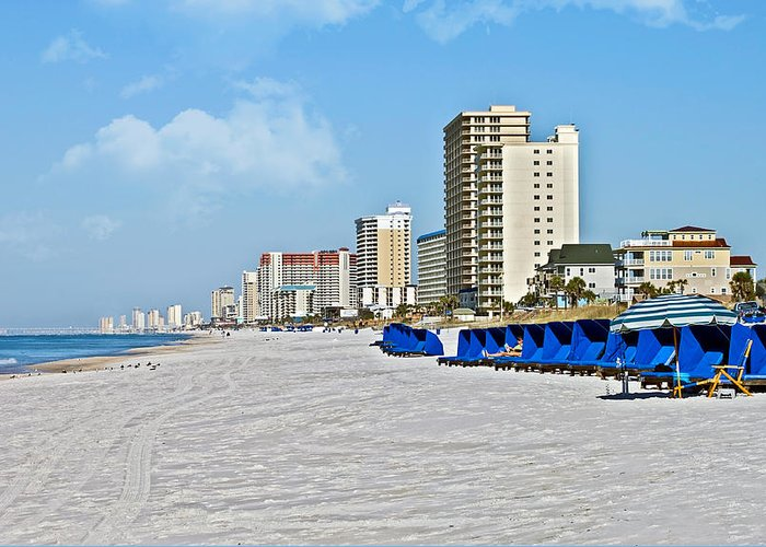 Beach Greeting Card featuring the photograph View Down A Quiet Beach by Susan Leggett