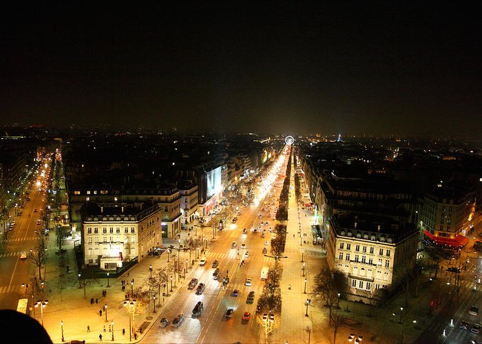 Paris Greeting Card featuring the photograph View From Arc De Triomphe - Paris France - 011319 by DC Photographer