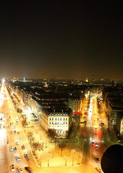 Paris Greeting Card featuring the photograph View From Arc De Triomphe - Paris France - 01138 by DC Photographer